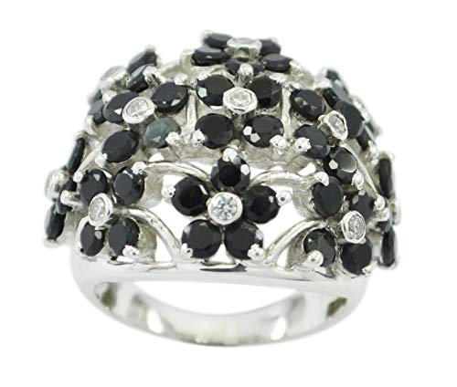 Usually 925 Sterling Silver Elegant Genuine Black Ring, Black Onyx Black Stone Silver Ring from RIYO