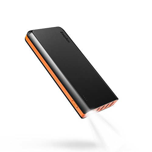 Price comparison product image [Fast and Efficient] EasyAcc 26000mAh Power Bank 4 Ports External Battery Charger Portable Charger for Android Phone Samsung HTC Tablets - Black and Orange