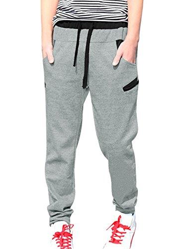 uxcell Men Drawstring Waist Harem Pants Letter Print Back Sweatpants Drop Crotch Pants Light Gray 34
