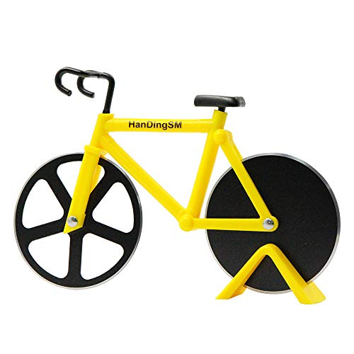 Bicycle Pizza Cutter Wheel, Bike Pizza Slicer Dual Stainless Steel Non-stick Cutting Wheels With a Stand best for Holiday Vacation Housewarming Cool Kitchen Gadget Cool Mens Gift