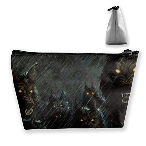 Dark Storm Rain Halloween Werewolf Hellhound Toiletry Bag Organizer Portable Gift for Girls Women Large Capacity Cosmetic Train Case for Cosmetics Digital Accessories Premium Clutch Bag