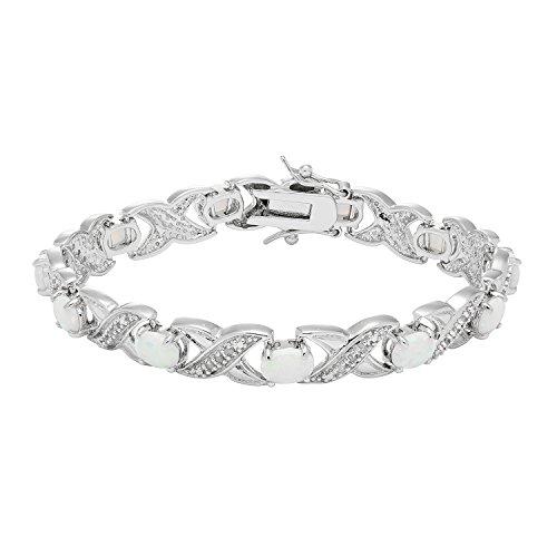 JewelExclusive Sterling Silver 1/4cttw Natural Round-Cut Diamond (J-K Color, I2-I3 Clarity) Lab Opal XO Bracelet, 7.5