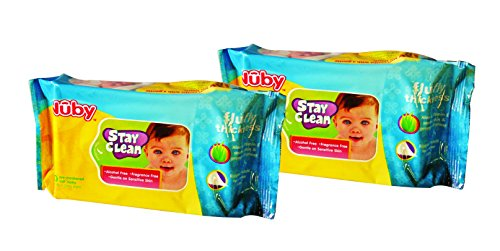 Nuby Stay Clean Disposal Wet Wipes (80 Sheets) – Pack of 2