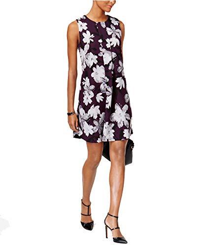 Alfani Women's Floral Front Pleated A-Line Shift Dress (Plum Watercolor, 18)