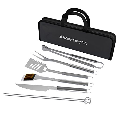 Stainless Steel Bbq Utensils - Home-Complete BBQ Grill Tool Set- Stainless Steel Barbecue Grilling Accessories with 7 Utensils and Carrying Case, Includes Spatula, Tongs, Knife