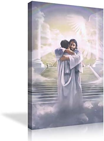 AMEMNY Wall Art Jesus Christ Welcome Home Hug Home Decoration