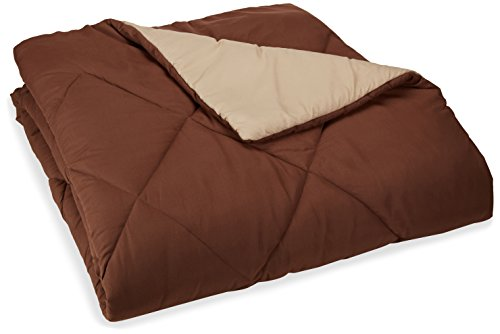 Brown Comforter - AmazonBasics Reversible Microfiber Comforter - Full/Queen, Chocolate