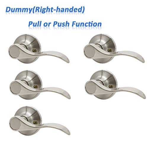 5 Pack Knobonly Right Handed Dummy Levers Single Side Satin Nickel Finish Single Side Pull/Push Function Wave Style