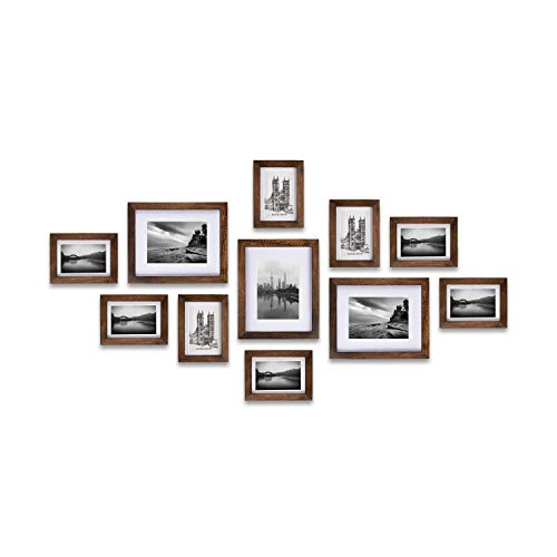 Ray & Chow Carbonized Black (Rustic Brown) Gallery Wall Picture Frames Set- 11 Frames- Solid Wood- Glass Window-Made to Display 8x10 5x7 Pictures Without Mat or 5x7 4x6 Pictures with Mat (Browns Picture Frame)