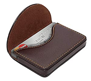NISUN PU Leather Pocket Sized Credit Card Holder Name Card Case Wallet with Magnetic Shut for Men & Women Brown