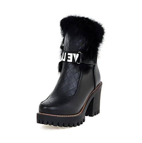 Round Closed AgooLar Heels Boots Black Soft Pull High Low Toe Material top Women's on XqZaRZBY