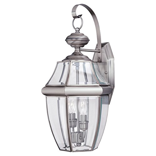 Sea Gull Lighting 8039-965 2-Light Lancaster Medium Outdoor Wall Lantern, Clear Beveled Glass and Antique Brushed Nickel 20.5' Exterior Wall Light
