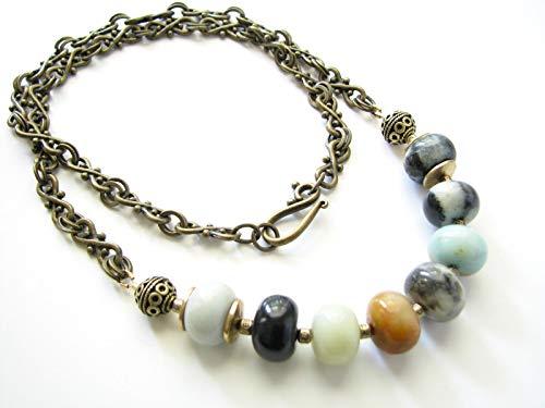 (Long Bead Amazonite Gemstone Necklace Beaded Chain Boho Natural Stone)
