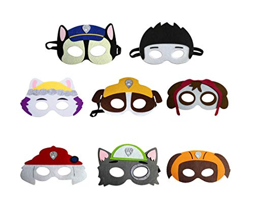 AG Goodies Paw Dog Patrol Toys Puppy Party Masks Birthday Cosplay Character Puppy Felt Masks Party Favors Party Supplies for Kids(Set of 8)