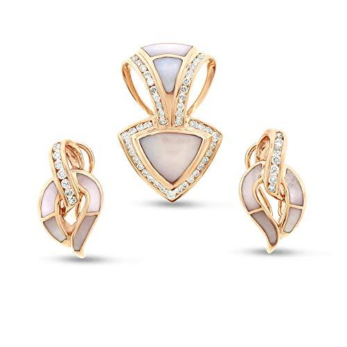 1.18 Ct. Natural Diamond Mother of Pearl Omega Slide Pendant & Earrings Set 14k Rose Gold