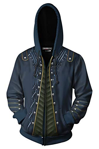 Hibuyer Mens DmC 5 Vergil Zip Up Hoodie 3D Printing Jacket Casual Outing Cosplay Costume Adults Unisex (5X-Large, Black (Devil May Cry 2 Dante Costume)