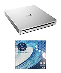 Pioneer 6x BDR-XS06 Slim Portable Blu-ray Burner Bundle with 1 Pack M-DISC BD - Supports USB 3.0, BDXL, BD, DVD, and CD Media (Silver, Retail Box)