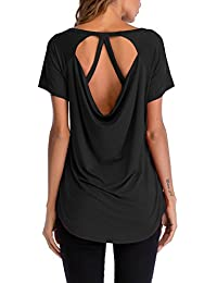 Women's Short Sleeve Loose Tops T Shirts with Strappy Back