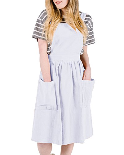Saodimallsu Womens A-Line Straps Loose Bib Overall Dresses Casual Pinafore Jumper Dress with Pockets (Length Knee Bib)