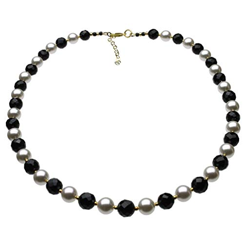 8mm Faceted Black Onyx Simulated Pearls Sterling Silver Necklace, 18