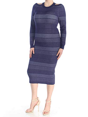 GUESS $108 Womens New 1433 Blue Striped Sweater Cut Out Casual Dress XL B+B