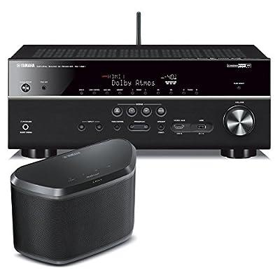 Yamaha RX-V681 7.2-Channel 4K AV Receiver with WX-030 MusicCast Wireless Speaker (Black)