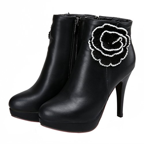 High Flowers Ankle Women's with Boots Bootie Zipper AIYOUMEI Heels Decoration Winter Stiletto Autumn Black Side n7PxzzfX
