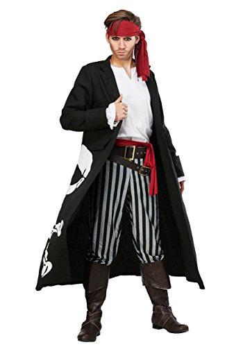 Adult Skull and Crossbones Pirate Coat Costume Men's Pirate Flag Captain Costume Medium ()