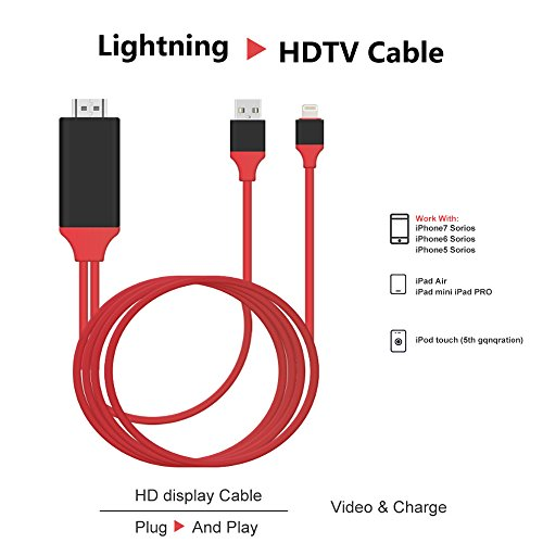 Geekercity MHL Lightning to HDMI Adapter, Digital AV Adapter 1080P With Charging Cable for iPhone 7 7Plus 6 6S Plus 5 5S , iPad air 2 mini, PLUG AND PLAY