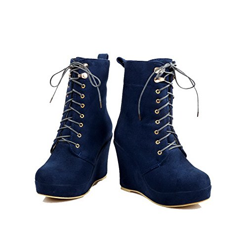 AllhqFashion Mujeres Caña Baja Tacón Alto Sólido Gamuza(Imitado) Botas Azul