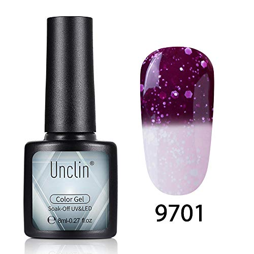 UNCLIN Gel Nail Polish UV LED Soak Off Snowflake Temperature Color-Changing Varnish Lacquer Nail Art Gift Manicure Collection New 8ML 9701