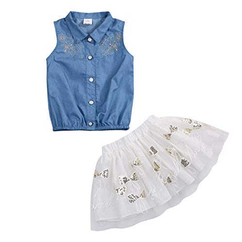 Toddler Baby Girls Tutu Skirt Outfit Set Floral Embroidery Denim Shirt+Tutu Skirt Princess Party Ruffle Dress Clothes (Blue+White, 12-18 Months)