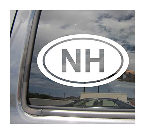 - NH The State of New Hampshire Code Oval Euro Style - Abbreviation Concord Manchester Granite White Mountain State Cars Trucks Auto Automotive Craft Laptop Vinyl Decal Store Window Wall Sticker 16031