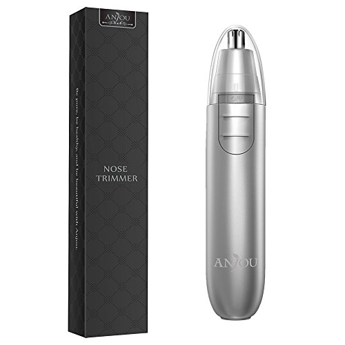 Nose Trimmer Anjou Ear Hair Trimmer Battery Operated Stainless Steel Dual-Edge Blades Facial Hair Groomer ( Detachable Head and Washable Design ) - Silver