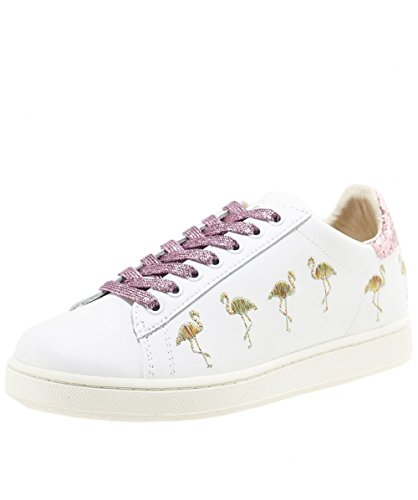Master of Arts Women's Embroidered Flamingo Trainers White UK 3