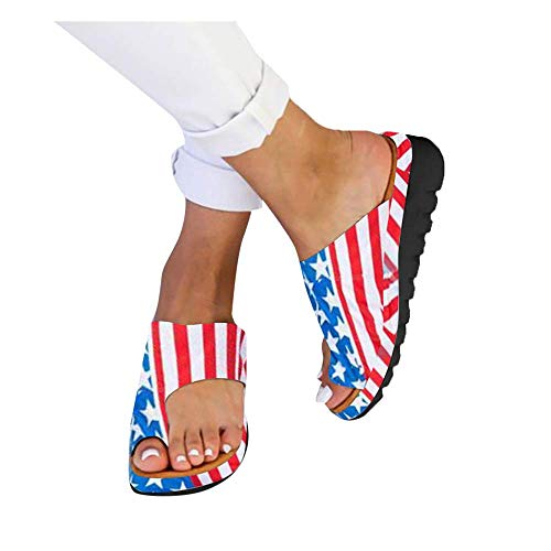 2019 New,Womens Flat Sandals Slides Open Toe Slip On Shoes,Ladies Summer Beach Comfortable Shoes Blue