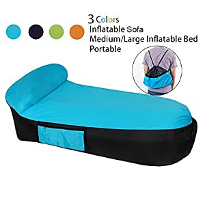 LOUTALA Outdoor Inflatable Lounger Portable Bed Air Sofa-Perfect for Beach,Travel, Camping(Easy to Carry, Easy Inflated) Convenient Waterproof Sofa Chairs With Carry Bag for Home Indoor Outdoor Activities (blue L)