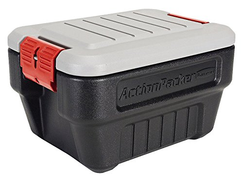 Rubbermaid ActionPacker Lockable Storage Box, 8 Gallon, Grey and Black (Lockable Storage Box)