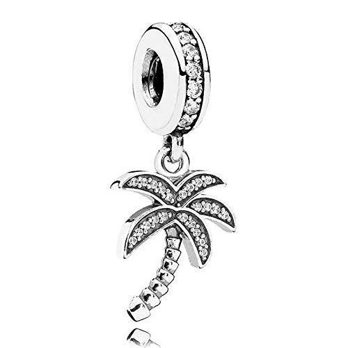 (Crystal Pendant Beads Fit Bracelet & Bangle DIY Jewelry | Silver Bead | Charm Vintage Palm Tree)