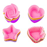 #9: Prefer Green Silicone Cupcake Liners, Reusable Baking Cups 24 Pack Nonstick Muffin Cake Molds 4 Shapes Star, Heart, Rose, Christmas Tree