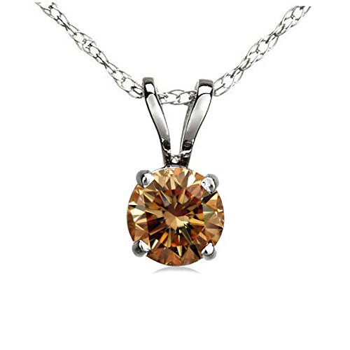 Dazzlingrock Collection 0.50 Carat (ctw) 14K Round Champagne Diamond Ladies Solitaire Pendant 1/2 CT, White Gold
