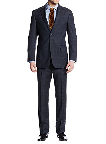 Button Super Fine Wool Suit - LN LUCIANO NATAZZI Two Button Men's Suit Nathan Plaid Trim-Fit Blazer Two Piece (38 Short US / 48S EU/W 32