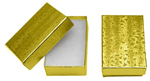Floral Pattern Favor Boxes - Novel Box MADE IN USA Jewelry Gift Box in Gold With Removable Cotton Pad 2.5X1.8X1