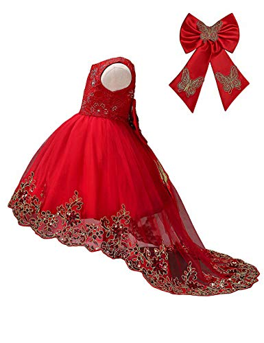 21KIDS Elegant Sleeveless Sequins Hem Tulle Long Tail Wedding Party Princess Gown Pageant Dress Red(gold Flower) 3-4 ()
