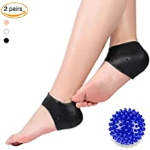 Plantar Fasciitis Gel Heel Protectors Heel Pads Kit-5 pieces, 2 pairs Gel Heel Sleeves and a Massage Ball for Foot Arch Support, Foot massager, Foot Pain and Metatarsal Reliever (Black+Black)