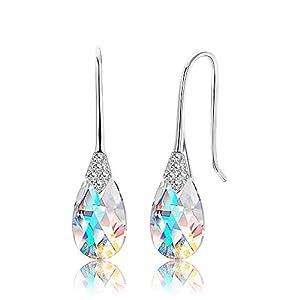 KesaPlan 18K Platinum Plated Teardrop Drop Dangle Earrings for Women Hook Aurora Crystal Earrings, Crystal from…