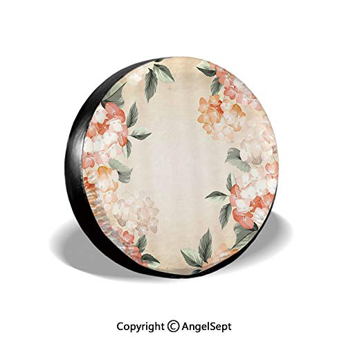 Spare Tire Cover,Blooming Hydrangea Flowers Leaves Bouquet Vintage Style Spring Nature Print,Salmon Reseda Green,for Jeep Trailer RV SUV Truck Camper Travel Trailer Accessories,15 Inch