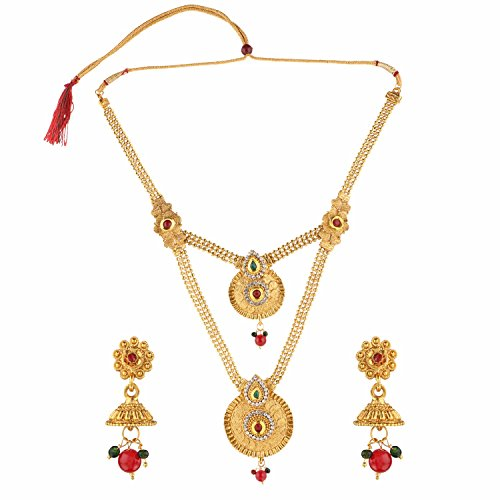(Efulgenz Indian Bollywood Traditional White Red Green Rhinestone Faceted Round Shape Faux Ruby Emerald Grand Heavy Bridal Designer Jewelry Necklace Set in Antique 18K Gold Tone for Women and Girls)
