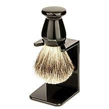 Edwin Jagger 1ej946sds Traditional English Best Badger Hair Shaving Brush Faux Ebony Medium With Drip Stand, Black, Medium