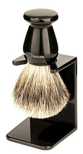 Edwin Jagger Best Badger Shaving Brush with Drip Stand, Imitation Ebony, Medium
